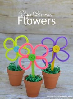 Pipe Cleaner Flower Craft-a fun flower craft project for kids and great kid made Mother's Day gift