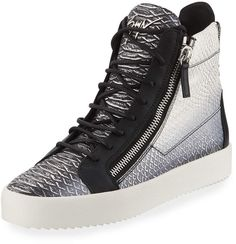 Shop Men's Metallic Snake-Print High-Top Sneakers from Giuseppe Zanotti at Neiman Marcus Last Call, where you'll save as much as on designer fashions. Lv Shoes, Snake Print, Giuseppe Zanotti, Versace, High Tops, High Top Sneakers, Metallic, Wedges