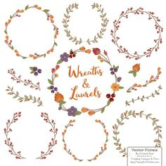 Laurel Wreath Clipart and Vectors - Hand Drawn Leaf ...