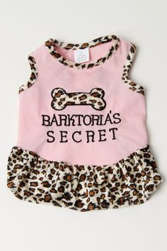 Barktoria's Secret Dress In Pink And Leopard  Puppy will be in bow-WOW style with this sassy leopard dress!