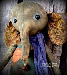 Primitive Folk Art Alice the Elephant by MeadowForkPrims on Etsy