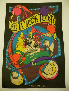 "Vintage Blacklight Poster by: Linda Rowley ""Be in Love Today"" 13.5""x9.5"" 1970's #Vintage"