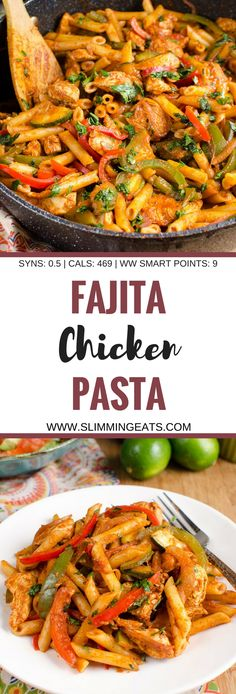 Slimming Eats Low Syn Chicken Fajita Pasta - gluten free, Slimming World and Weight Watchers friendly paleo crockpot fajitas Top Recipes, Mexican Food Recipes, Diet Recipes, Cooking Recipes, Healthy Recipes, Salad Recipes, Low Fat Pasta Recipes, Zoodle Recipes, Tagine Recipes