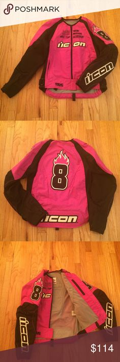 NWOT ICON STAGE 2 MERC Motorcycle Jkt Sz Medium Womens Icon Motorcycle jacket Size Medium.Nearly perfect condition hot pink, new without tags jacket. Padding on back and waist. Articulated elbows. Number 020 written on inside label, please see the picture. Even the Velcro is clean! Thanks for looking! ICON Jackets & Coats