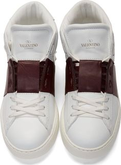 Valentino White & Burgundy High-Top Sneakers for men
