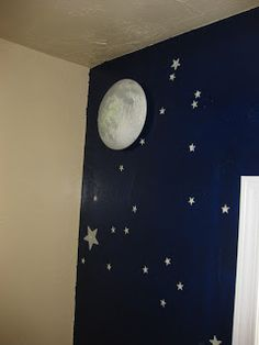 One dark wall with moon and stars
