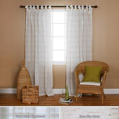 Faux Linen Tie-top 84-inch Curtain Panel Pair. Awesome! Affordable, textured, pretty tying tabs. :-D