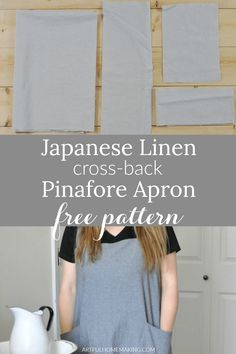 Free Japanese Linen Pinafore Apron Pattern Instructions and Tutorial (plus video!) Source by artfulhomemaking diy Japanese Sewing Patterns, Easy Sewing Patterns, Apron Patterns, Dress Patterns, Pattern Sewing, Vogue Patterns, Pinafore Pattern, Pinafore Apron, Linen Apron