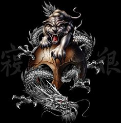 animal on a black background | ... dragon tiger skull animal Wallpaper, Background, Picture and Layout