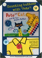 Counting and literacy activity with book, Pete the Cat and His Four Groovy Buttons by James Dean