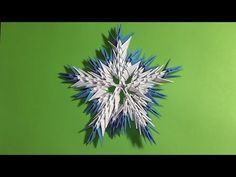 3D origami snowflake tutorial instruction N2 for beginners - YouTube