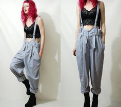 Vintage BAGGY PANTS Overalls PAINTER Braces by cruxandcrow on Etsy
