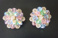 Vintage Mid Century Aurora Borealis Crystal Cluster Filigree Clip Earrings / 1950s 1960s / Pastel Blue Pink Green / Jewelry / Jewellery | Vintage and Antique Jewelry & Fashion | Scoop.it
