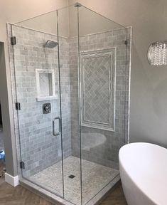15 of Our Favorite Shower Tile Ideas Diy Bathroom Remodel, Bath Remodel, Bathroom Ideas, Bathroom Designs, Bathroom Organization, Bathroom Remodeling, Remodeling Ideas, Organization Ideas, Black Tile Bathrooms