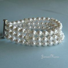 Triple Strand Pearl and Fireball Cuff Bracelet -  Three Strand Bridal Bracelet in White or Ivory Pearls - Wedding Jewelry