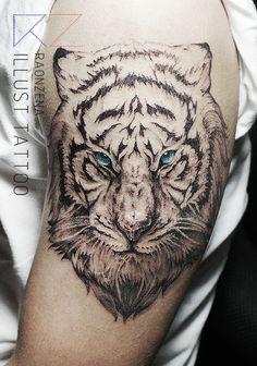 tiger tattoo, blue eyes tiger  by. RAONZENA tattoo www.raonzena.co.kr