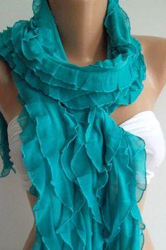 Elastic Chiffon  Turquoise   Elegance  Shawl / Scarf by womann, $19.00