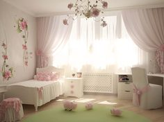 white room with pink curtains