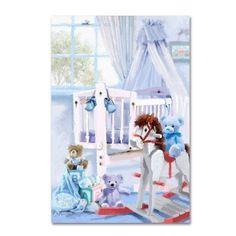 Trademark Fine Art 'Baby Boy's Cot' Canvas Art by The Macneil Studio, Size: 12 x 19, Blue