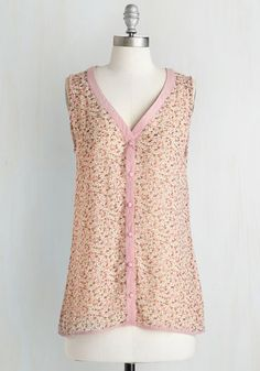 I Just Want to Tank You Top in Rose. If you could write a letter to this sheer blouse, you would tell of your gratitude for its glam ways! #pink #modcloth