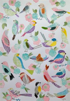 Summer Birds & Floral Illustration A4/A3 Birds + Cherry Blossom Illustration Giclee Print~Wall Art Print~Kids Bedroom Wall Art~Nursery Decor