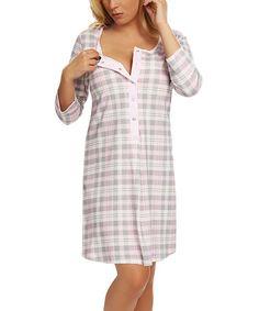 Look at this #zulilyfind! Pink Plaid Atena Maternity/Nursing Nightgown - Women & Plus #zulilyfinds
