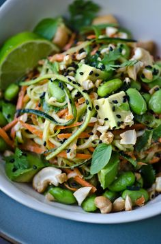 Thai peanut zucchini noodles. This was so good. I doubled the amount of lime juice and tripled avocado! You don't need a julienne peeler, just a knife. Used matchstick carrots to make it easy.