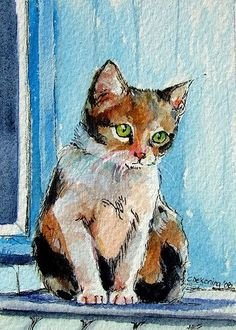 Astrid | ACEO original watercolor ✿ www.christydekoning.etsy… | Flickr #CatWatercolor