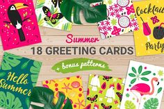 18 Summer Greeting Cards by miumiu on @creativemarket