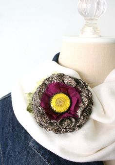 Textile Brooch, Fabric Flower Pin, Sunflower Pin, Unique Gift for Women and Girls, Hat Pin, Floral Shawl Pin, Bridal Sash Pin, Floral Brooch