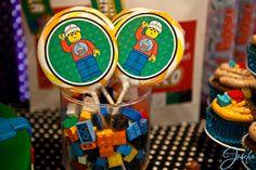 Lego birthday party - Lego lollipops in Lego filled glass jars