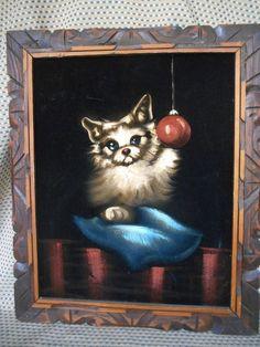 "Black Velvet Painting Cute Dog on Pillow 20"" x24"" Pomeranian Damaged"