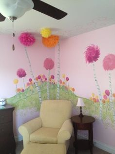 Dr. Seuss Lorax . Creative Mural ideas. Hand painted by Karen Heyse