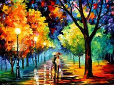 Night Alley by Leonid Afremov  Now I want a print of this for my wall.
