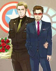 Date night? I wonder if atony gave the flowers to Steve or if Steve have yet to give them to Tony. Spideypool, Superfamily Avengers, Stony Avengers, Stony Superfamily, Avengers Comics, Marvel Memes, Marvel Dc, Baby Avengers, Tony Stark Steve Rogers