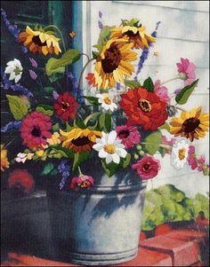 "Crewel Embroidery Kit 11"" x 14""  BUCKET OF FLOWERS"
