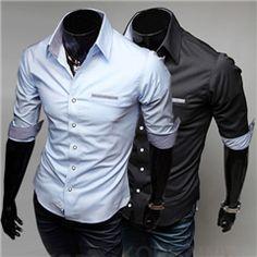New Slim Fit Solid Color Contrast Details Casual Shirt Men's Social Dress Shirt Half Sleeve Turn Down Collar Mens Summer T Shirts, Casual Shirts For Men, Sweater Shirt, Shirt Dress, Pinterest For Men, Social Dresses, Latest Mens Fashion, Men's Fashion, Attractive Guys