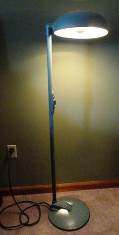 Retro Green American Hospital Surgery Corp 2 Light Rotating Medical Floor Lamp