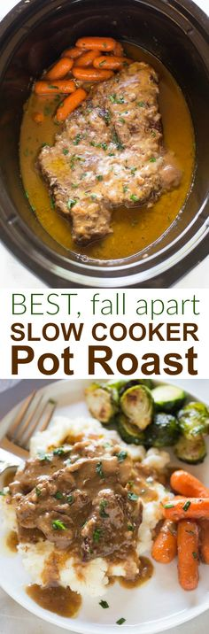 The most tender, flavorful pot roast, cooked in a delicious gravy, with tender vegetables. This is an all-in-one meal that can't be beat! #slowcooker #dinner #roast #familyfriendly #easy   via @betrfromscratch