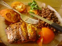 Home cooked under 15 minutes.... #Organic tomatoes, organic beans, #fresh salad, and wild #salmon... all under $15 for 2 people