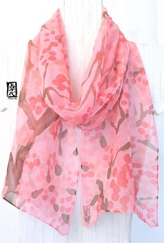 Silk Scarf Handpainted, Gift for her, Gift for Wife, Gift Wrapped, Pink Silk Scarf, Coral Pink Plum Blossoms Scarf, Chiffon, 11x60 inches. by SilkScarvesTakuyo on Etsy https://www.etsy.com/listing/93713992/silk-scarf-handpainted-gift-for-her-gift