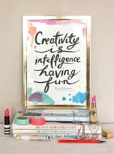 Typographic Print - Hand Lettering - Creativity is Intelligence Having Fun -  Illustration Print  - Black and White - Einstein Quote // for a wall