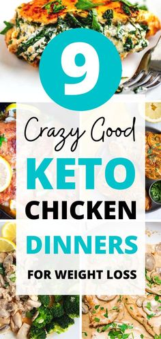 Quick keto chicken dinners that are easy to make and crazy-delicious! Try some easy ketogenic chicken recipes that are filling, satisfying and will help you stick to the keto diet even on the busiest of weeknights! Low Carb Chicken Thigh Recipe, Keto Chicken Thighs, Crockpot Chicken Thighs, Chicken Fajita Recipe, Low Carb Chicken Recipes, Low Carb Dinner Recipes, Keto Dinner, Chicken Cauliflower Casserole, Baked Pesto Chicken