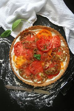 Heirloom Tomato Tart with Fresh Basil, Ricotta, and Balsamic Fig Drizzle