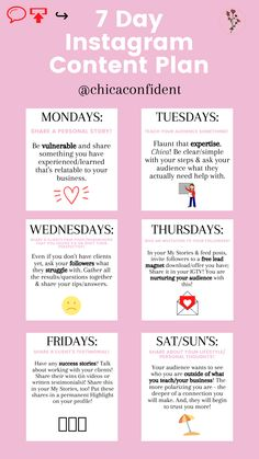 Trying to get an Instagram content plan that grows your following? Use this 7 Day Instagram Content Plan! #instagramgrowth #instagramplan #socialmediaplan #socialmediagrowth