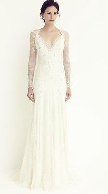 Jenny packham Josephine size large unaltered long sleeve lace wedding dress.