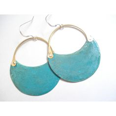 Patina Copper Hoop Earrings, Blue Green Verdigris Patina Earrings,... ($34) ❤ liked on Polyvore featuring jewelry and earrings