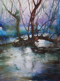 by Ann Blockley - watercolor Art Aquarelle, Watercolor Trees, Watercolor Artists, Watercolor Landscape, Landscape Art, Landscape Paintings, Watercolor Paintings, Watercolours, Watercolor Portraits