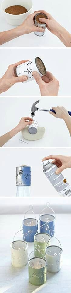 Up-cycled tin cans for lanterns