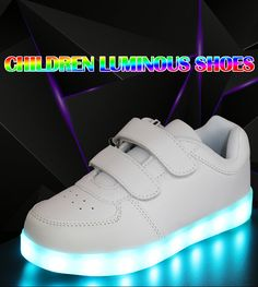 Brilliant The New Led Children s Shoes Boys And Girls Fashion Board Shoes Usb Charging Led Shoes Wholesale Drop Shipping